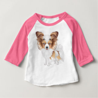 Adorable Papillon Apparel 3-4-Sleeve Raglan T-Shit Baby T-Shirt