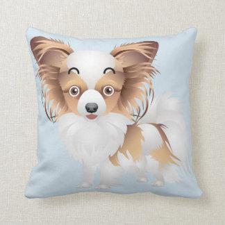 Adorable Papillon puppy  Polyester Throw Pillow