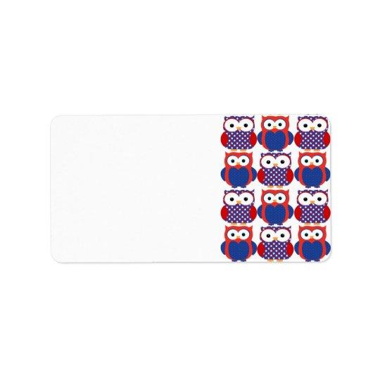 Adorable Patriotic Owls Label