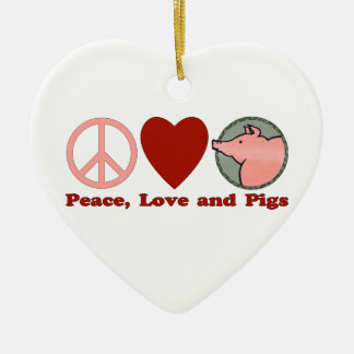 Adorable Peace, Love and Pigs Gifts and Tees Christmas Ornament