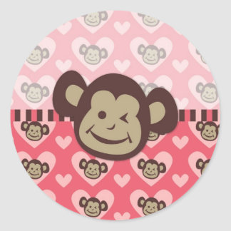 Adorable Peace Monkey Cards, Postage, Gifts Classic Round Sticker