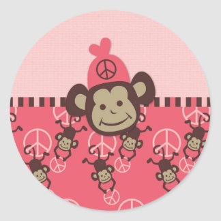 Adorable Peace Monkey Cards, Postage, Gifts Round Sticker