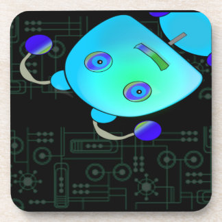 Adorable Peek A Boo Blue Robot Beverage Coasters