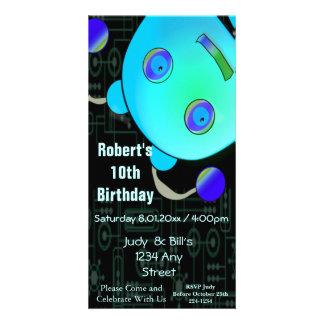 Adorable Peek A Boo Blue Robot Birthday Photo Card