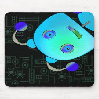 Adorable Peek A Boo Blue Robot Mousepad