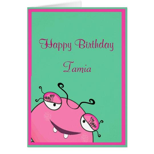 Adorable Peeking Girly Monster Birthday Card