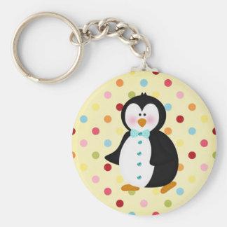 adorable Penguin Basic Round Button Key Ring