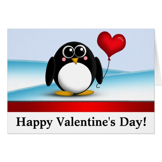 "Adorable Penguin ""Happy Valentine's Day"" Note Card"