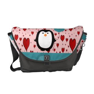 Adorable Penguin with Heart Balloon Messenger Bag