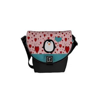 Adorable Penguin with Heart Balloon Courier Bags