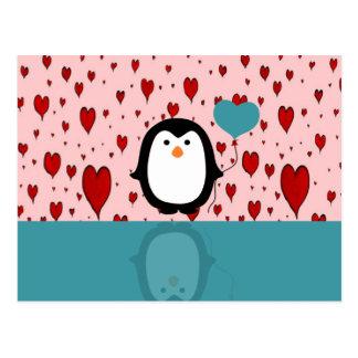 Adorable Penguin with Heart Balloon Postcard