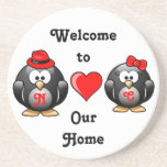 Adorable Penguins Red Heart Hat Ribbon Love Pair