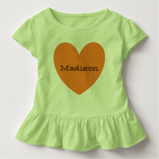 Adorable Personalized Orange Heart Toddler Girl Toddler T-Shirt