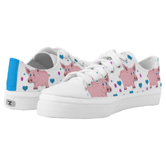 Adorable Pigs Hearts and Flowers Shoes Printed Shoes