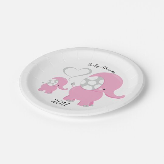 Adorable Pink Baby Elephant Design Personalised Paper Plate