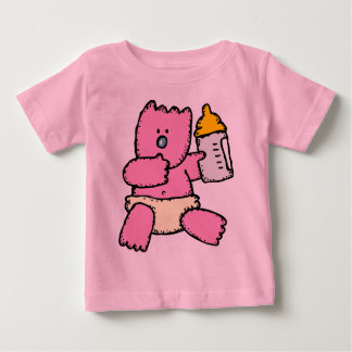Adorable Pink Bear In Diapers Baby T-Shirt