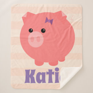 Adorable Pink Chubby Pig Sherpa Blanket