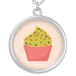 adorable pink cupcake round pendant necklace