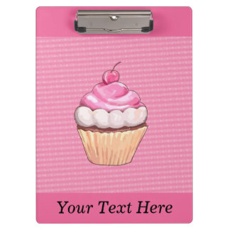 Adorable Pink Cupcake with Cherry Clipboard