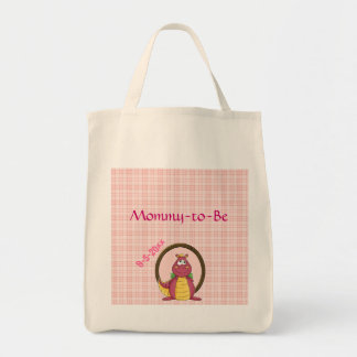 Adorable Pink Dragon  Baby Shower Grocery Tote Bag
