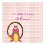 Adorable Pink Dragon on Pink Plaid Baby Shower