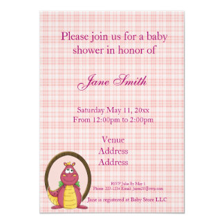 Adorable Pink Dragon on Pink Plaid Baby Shower Invites