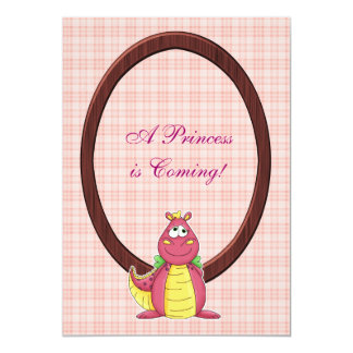 Adorable Pink Dragon on Pink Plaid Baby Shower Custom Invites