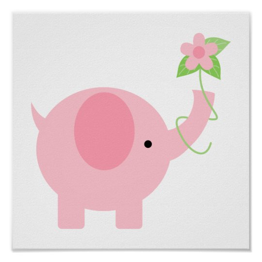 Adorable Pink Elephant with Flowers Poster