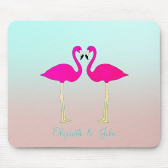 Adorable Pink Flamingos In Love-Personalised Mouse Mat