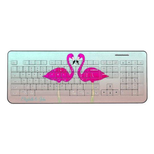 Adorable Pink Flamingos In Love-Personalised Wireless Keyboard