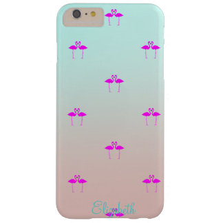 Adorable Pink Flamingos In Love-Personalized Barely There iPhone 6 Plus Case