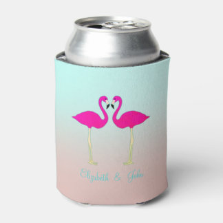 Adorable Pink Flamingos In Love-Personalized Can Cooler
