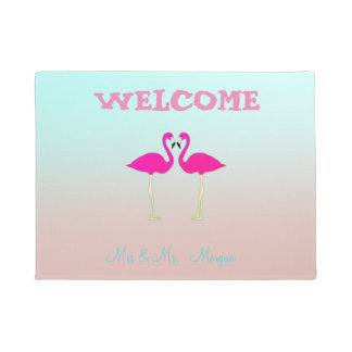 Adorable Pink Flamingos In Love-Personalized Doormat