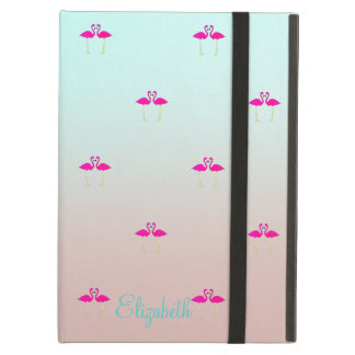 Adorable Pink Flamingos In Love-Personalized iPad Air Cover