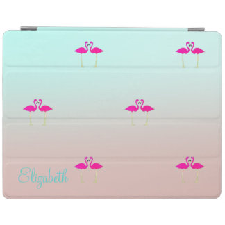 Adorable Pink Flamingos In Love-Personalized iPad Cover