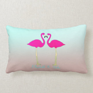 Adorable Pink Flamingos In Love-Personalized Lumbar Cushion