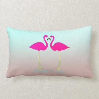 Adorable Pink Flamingos In Love-Personalized Lumbar Pillow