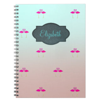 Adorable Pink Flamingos In Love-Personalized Notebook