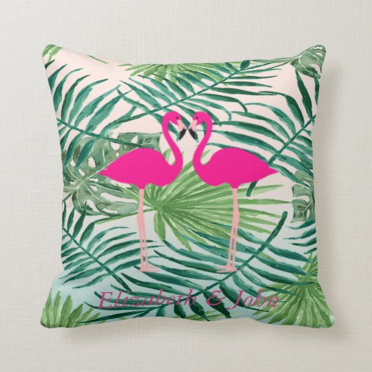 Adorable Pink Flamingos ,Tropical Palm Leaves Cushion