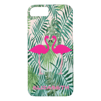 Adorable Pink Flamingos ,Tropical Palm Leaves iPhone 8/7 Case