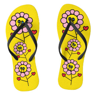 Adorable Pink Flowers Bright Yellow Flip Flops