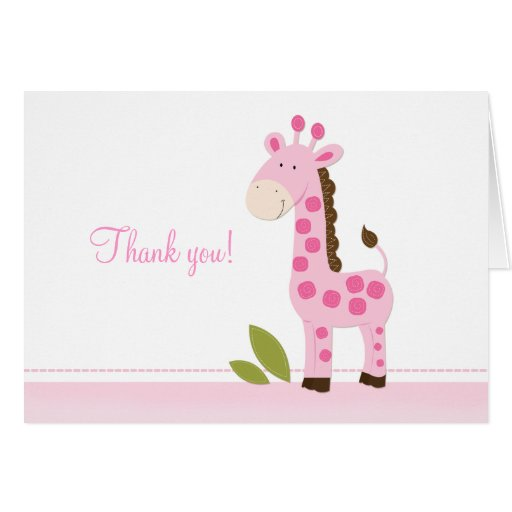 Adorable Pink Giraffe Folded Thank you notes Greeting Cards