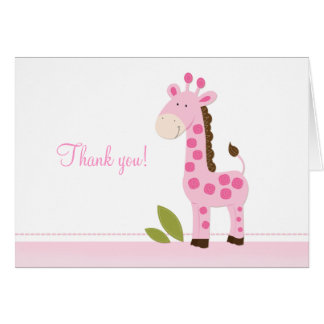 Adorable Pink Giraffe Folded Thank you notes Note Card