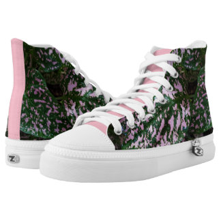 ADORABLE PINK GREEN PLANT HIGH TOPS PRINTED SHOES