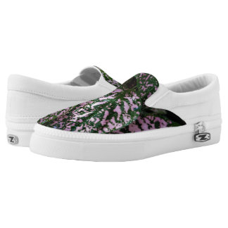 ADORABLE PINK GREEN PLANT SLIP ONS PRINTED SHOES
