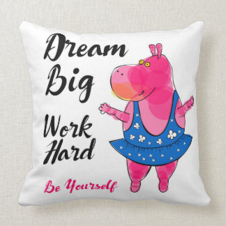 "Adorable pink hippo balerina with sign ""Dream Big"" Throw Pillow"
