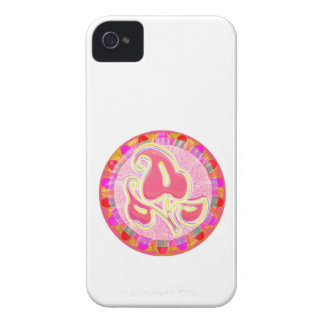 Adorable Pink Leaf Jewel : Dazzling Border iPhone 4 Case