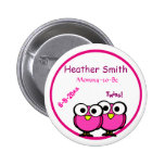 Adorable Pink Owl Mommy To Be Baby Shower Twins Button