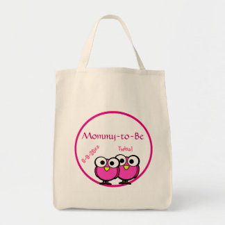 Adorable Pink Owl Mommy To Be Baby Shower Twins Grocery Tote Bag