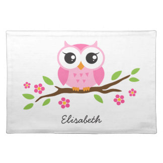 Adorable pink owl on branch personalized name place mats